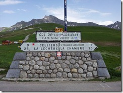 Col de la Madeleine summit signpost